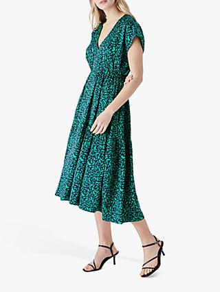 Finery Clovelly Floral Print Midi Dress, Green