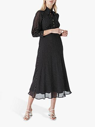 Finery Martha Spotted Midi Dress, Black/White