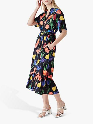 Finery Lucielle Floral Print Midi Shirt Dress, Multi