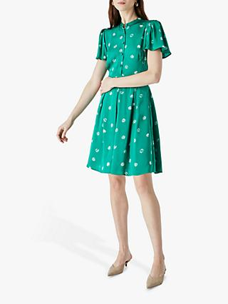 Finery Cheniston Spotted Mini Dress, Green
