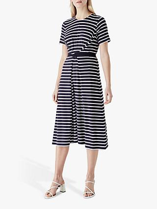 Finery Brielle Striped Midi Dress, Navy/White