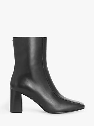 Kin Orella Leather Block Heel Square Toe Ankle Boots, Black