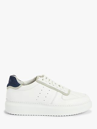 Kin Elton Leather Stitch Detail Flatform Trainers, White