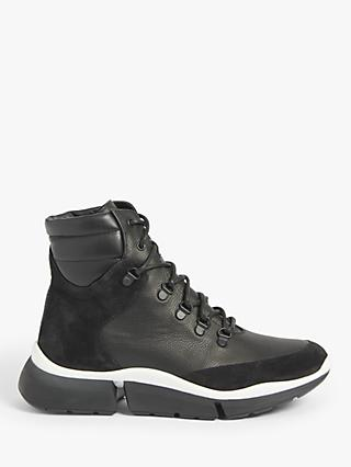 Kin Everest Leather Trainers, Black Tumble