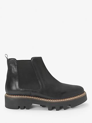 Kin Paisley Leather Flatform Chelsea Boots, Black