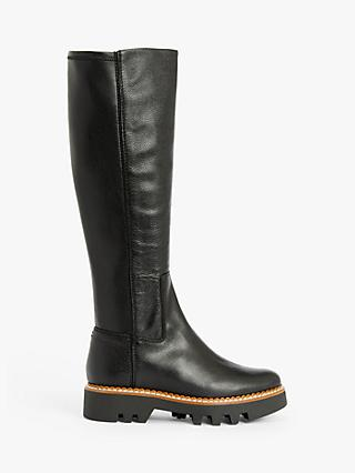 Kin Thea Leather Cleated Long Boots, Black