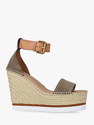 See By Chloé Suede Espadrille Wedge Sandals, Green Khaki