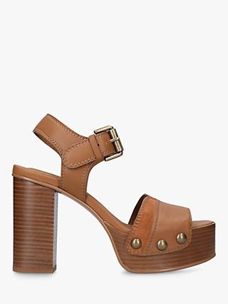 See By Chloé 105 Eva Platform Heel Leather Sandals, Tan