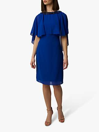 Raishma Niara Cape Embellished Midi Dress, Cobalt Blue