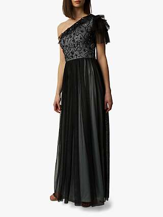 Raishma Gloria Embellished Asymmetric Gown, Charcoal Grey