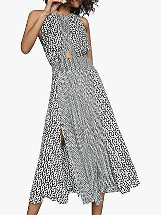 Reiss Alexandria Mix Print Midi Dress, Black/White