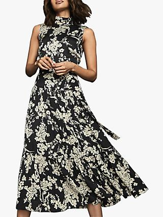 Reiss Briella Floral Satin Sleeveless Midi Dress, Black