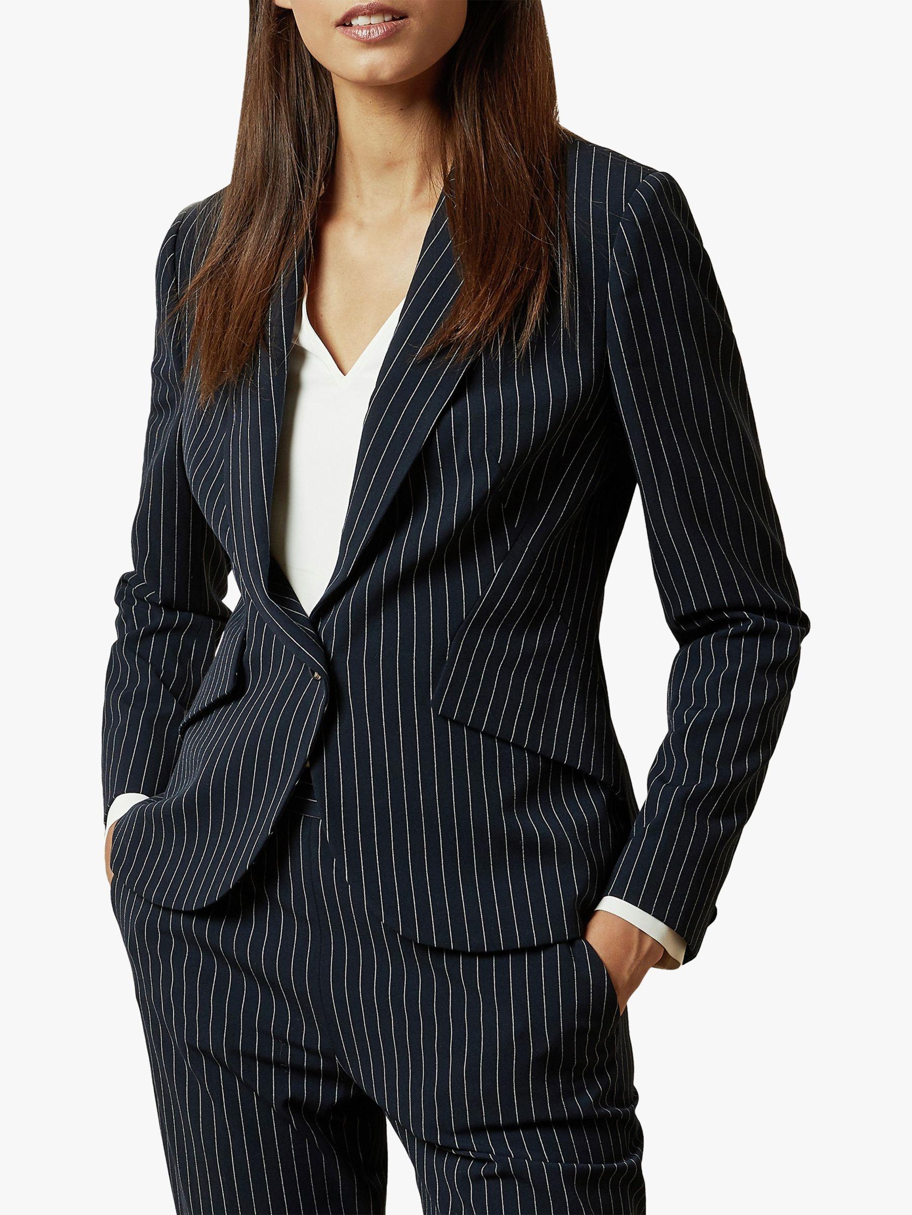 Ted Baker Ted Baker Angila Suit Pinstripe Jacket, Dark Blue