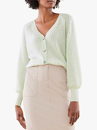 Pure Collection Gassato Cashmere Balloon Sleeve Ribbed Cardigan