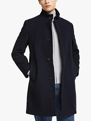 Kin Wool Blend Funnel Neck Overcoat, Navy