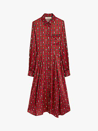 Mulberry Teri Medallion Twill Dress, Scarlet