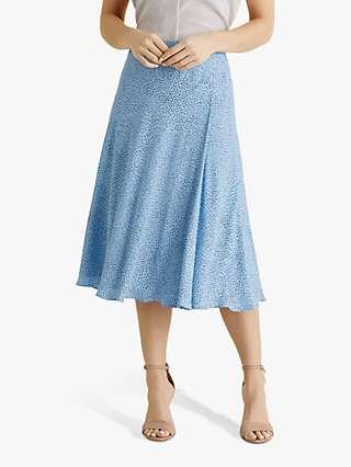 Fenn Wright Manson Petite Oceane Spotted Midi Skirt, Pale Blue