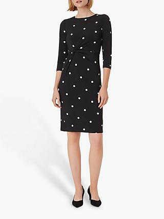 Hobbs Cassia Spotted Mini Dress, Black/Ivory
