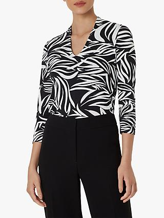 Hobbs Aimee Abstract Print Top, Black/Ivory
