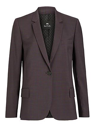 PS Paul Smith Single Breasted Check Blazer Jacket, Burgundy