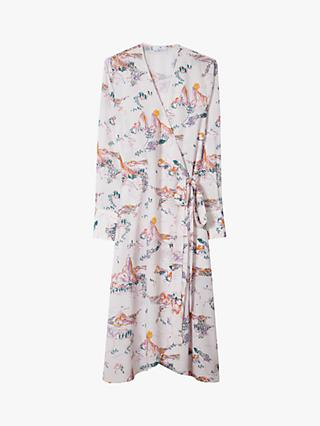 PS Paul Smith Mountain Scene Print Long Sleeved Dress, Lilac/Multi