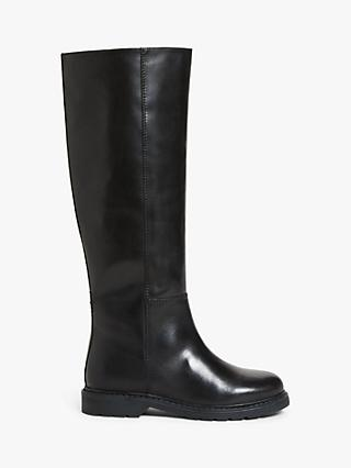 Kin Tia Leather Stitch Detail Long Boots, Black