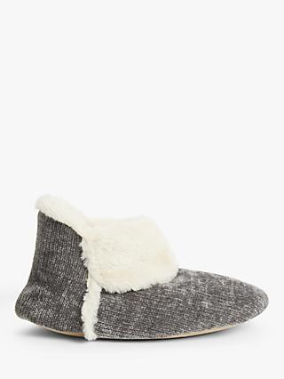 John Lewis & Partners Faux Fur Chenille Boot Slippers, Grey
