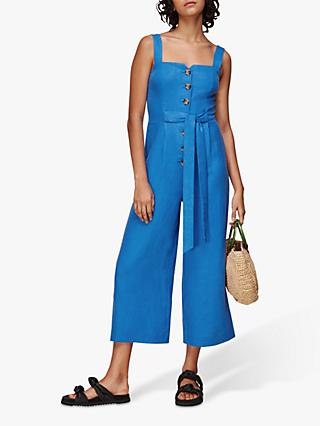 Whistles Hadley Linen Jumpsuit, Blue