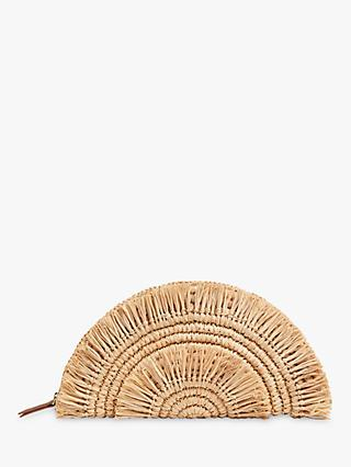 Whistles Santino Fringe Straw Clutch, Neutral