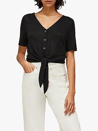 Whistles Linen Button Front Top