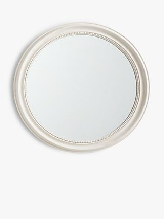 John Lewis & Partners Round Distressed Wood Frame Wall Mirror, Cream