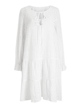 Numph Nualzbet Broderie Midi Dress,  Bright White