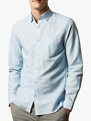 Ted Baker Rorow Regular Fit Cotton Linen Shirt, Mid Blue