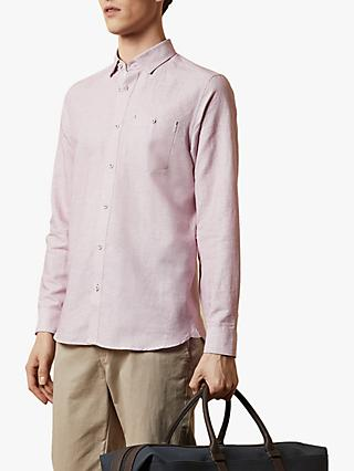 Ted Baker Rorow T for Tall Regular Fit Cotton Linen Shirt, Pink Mid