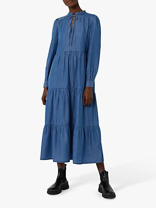 Warehouse Tiered Denim Tie Neck Midi Dress, Mid Wash Denim