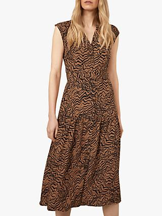 Warehouse Razorlight Print Sleeveless Midi Dress, Black/Brown