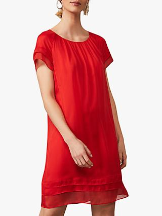 Phase Eight Freesia Silk Shift Dress, Tango Red