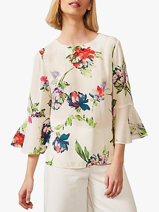 Phase Eight Ayara Floral Blouse, Ivory/Multi