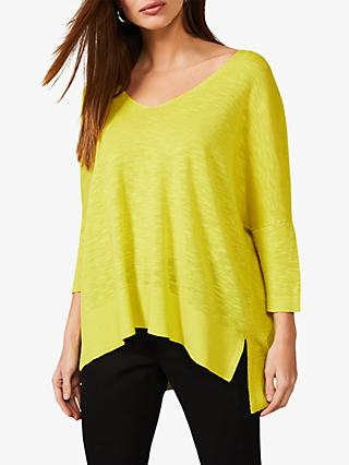 Phase Eight Larna Linen Knit Top, Pineapple