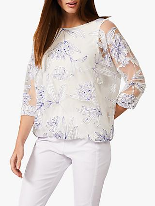 Phase Eight Reine Bubble Floral Blouse, White/Cobalt