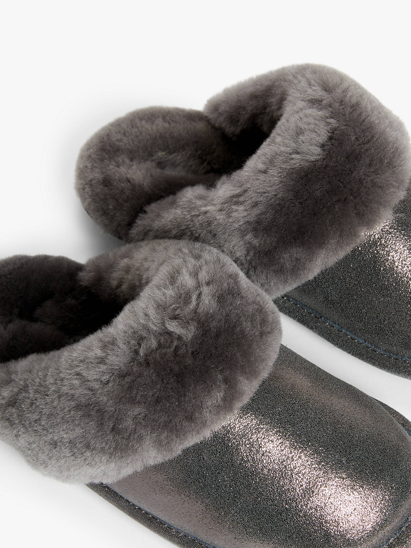 Buy John Lewis & Partners Sheepskin Mule Slippers, Metallic Grey, 5 Online at johnlewis.com