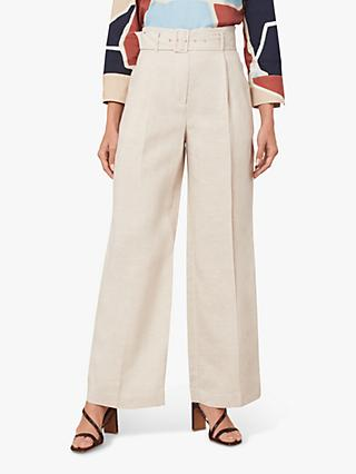 Jaeger Belted Wide Leg Linen Trousers