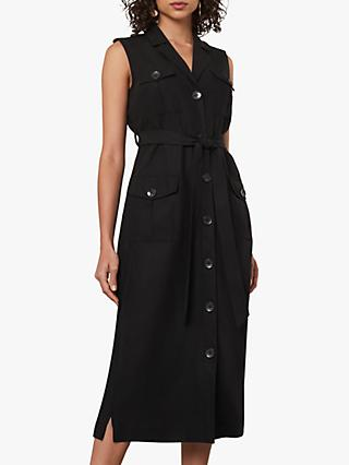 Jaeger Button Down Midi Dress, Black