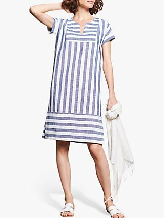 Pure Collection Linen V Neck Tunic Dress, Blue/Ivory