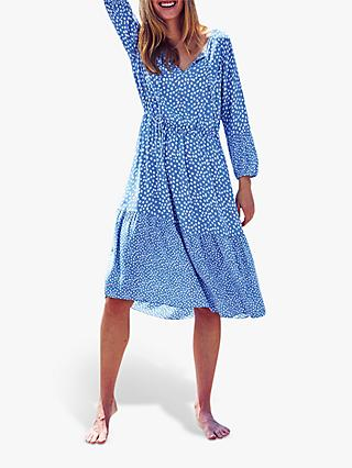 Pure Collection Spot Tie Neck Tiered Dress, Blue