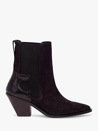 AllSaints Sara Suede Cuban Heel Ankle Boots