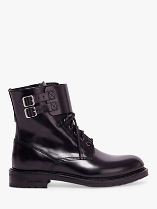 AllSaints Brigade Leather Lace Up Biker Boots, Black