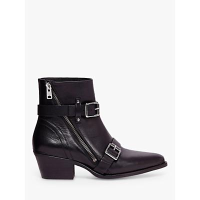 AllSaints Lior Leather Strap Boots, Black