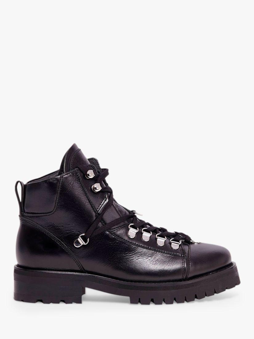 AllSaints Lia Leather Lace Up Boots, Black