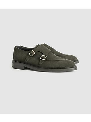 Reiss Jake Suede Monk Strap Leather Shoes, Forest Green